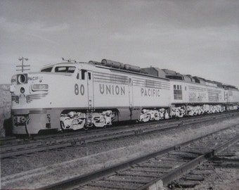 Vintage Black and White Photo Union Pacific Train RailRoad