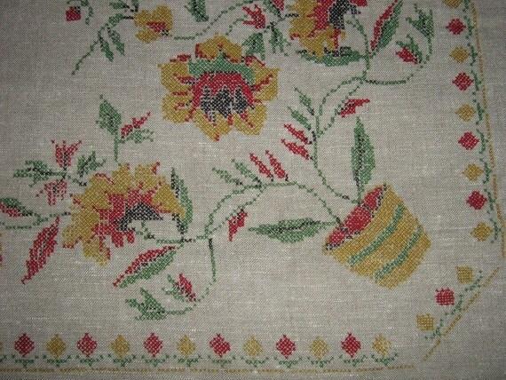 Dark Linen Vintage Table Cloth Fall Colors