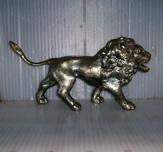 Silver Lion Vintage Hollywood Regency Silverplated Brass Leo Art Object