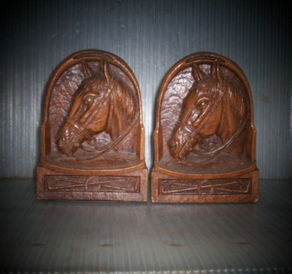 RESERVED 05-13 Bookends Antique Horse Head Pair Syroco Wood