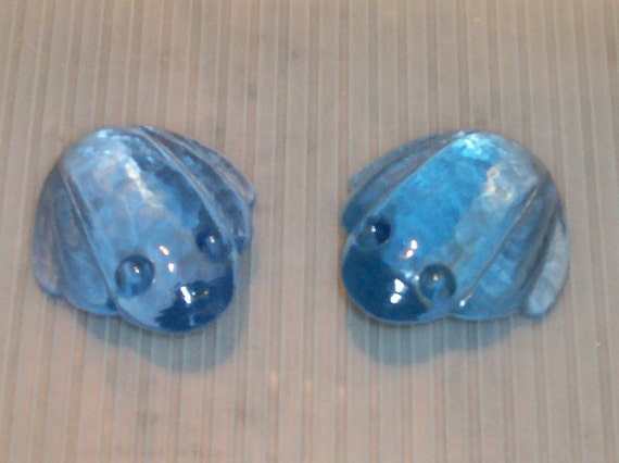 Paperweight 2 Ice Blue Glass Frog Vintage