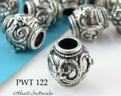 Large Hole Beads Pewter Barrel Antique Silver (PWT 122) 6 pcs BlueEchoBeads