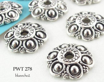 13mm Pewter Bead Caps Six Petal Flower Antique Silver (PWT 278) 12 pcs BlueEchoBeads