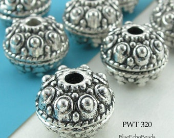 18mm Large Bali Style Pewter Bead, Antique Silver Bead (PWT 320) 2 pcs BlueEchoBeads