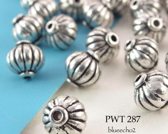 7mm Pewter Beads Antique Silver, Melon (PWT 287) 20 pcs BlueEchoBeads