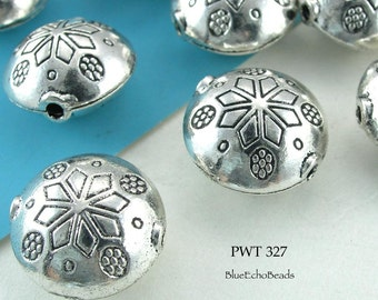 Pewter Beads Large Snowflake Antique Silver (PWT 327) blueecho 5 pcs
