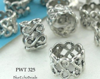 Large Hole Beads Pewter Filigree Antique Silver 10mm (PWT 325) 12 pcs BlueEchoBeads