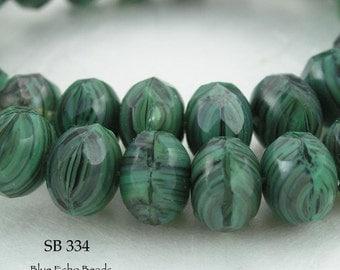 8mm Czech Rondelle Glass Beads, Woodlands Green (SB 334) 12 pcs Blue Echo Beads