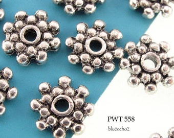 9mm Pewter Beads, Star Rondelle, Antiqued Silver (PWT 558) 20 pcs BlueEchoBeads