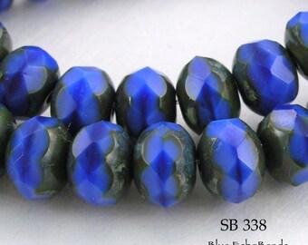 8mm Faceted Picasso Rondelle Czech Glass Beads Midnight Blue (SB 338) 12 pcs BlueEchoBeads