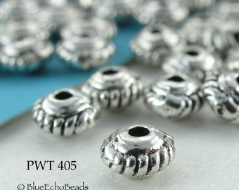 5mm Pewter Beads Mini Spacer Saucer Small Antique Silver (PWT 405) 50 pcs BlueEchoBeads