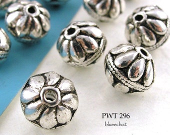 10mm Pewter Beads Flower Top Antique Silver (PWT 296)  6 pcs BlueEchoBeads
