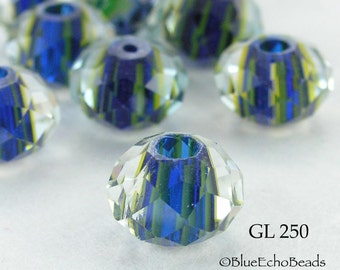 10mm Lampwork Glass Rondelle Bead, Blue Lime Green Stripes (GL 250) 5 pcs BlueEchoBeads
