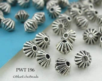 4mm Mini Bicone Pewter Beads Antique Silver Top (PWT 196) 50 pcs BlueEchoBeads
