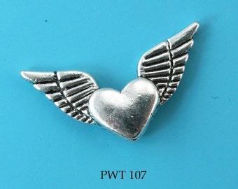 25mm Pewter Beads Flying Heart (PWT 107) 10 pcs BlueEchoBeads