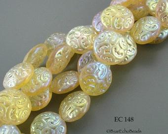 14mm Czech Glass Beads Yellow AB Coin (EC 148) BlueEchoBeads 6 pcs