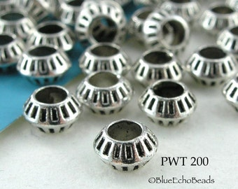 Small Pewter Beads with Large Hole Antique Silver (PWT 200) 25 pcs BlueEchoBeads