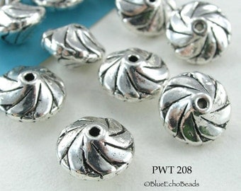 Pewter Spacer Beads Swirl Saucer (PWT 208) blueecho 8 pcs