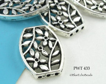 Large 26mm Floral Pewter Focal Bead, Connector, Pendant (PWT 433) 3 pcs BlueEchoBeads
