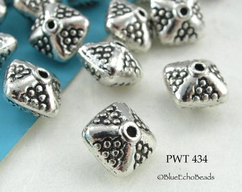 Pewter Spacer Beads Double Pyramid 8mm (PWT 434)  12 pcs BlueEchoBeads