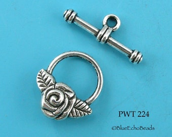 15mm Rose Toggle Clasp, Pewter, Antiqued Silver (PWT 224) 6 sets BlueEchoBeads