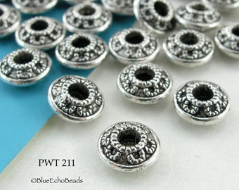 8mm Pewter Spacer Beads Saucer with Loops (PWT 211) 20 pcs BlueEchoBeads