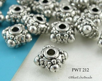 Square Rondelle Pewter Beads Small 6mm (PWT 212) 15 pcs BlueEchoBeads