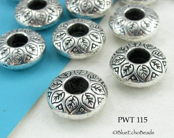 14mm Large Hole Beads Rondelle, Antique Silver (PWT 115) 6 pcs BlueEchoBeads