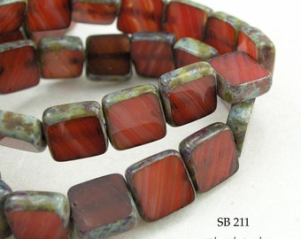 Picasso Czech Glass Tablet Window Cut Beads Red (SB 211) blueecho 8 pcs