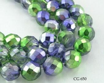 12mm Czech Faceted Glass Beads Fire Polished Two Tone Iris (CG 650) 12 pcs BlueEchoBeads