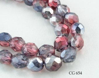 8mm Czech Faceted Glass Beads Fire Polished Two Tone Pink Parfait (CG 654) 25 pcs BlueEchobeads