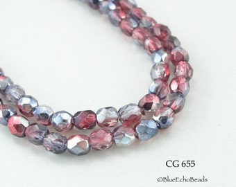 4mm Czech Faceted Glass Beads Fire Polished Two Tone Pink Parfait (CG 655) 50 pcs BlueEchoBeads