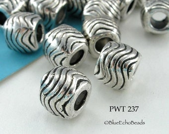 10mm Large Hole Beads Pewter Cube Waves, Antique Silver (PWT 237) 6 pcs BlueEchoBeads