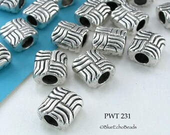11mm Large Hole Beads Pewter Interwoven Square Antique Silver (PWT 231) 6 pcs BlueEchoBeads