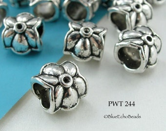 10mm Large Hole Pewter Beads, Tube, Star, Flower, Antique Silver (PWT 244) 8 pcs BlueEchoBeads