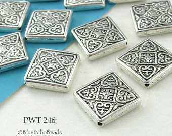 14mm Square Celtic Pewter Bead, Antique Silver (PWT 246) 5 pcs BlueEchoBeads