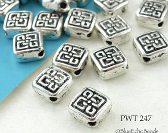 6mm Small Square Celtic Diamond Pewter Bead Antique Silver (PWT 247) 25 pcs BlueEchoBeads