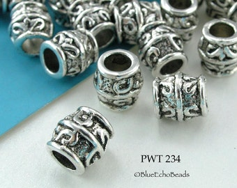 8mm Pewter Beads Large Hole Barrel Antique Silver (PWT 234) 10 pcs BlueEchoBeads
