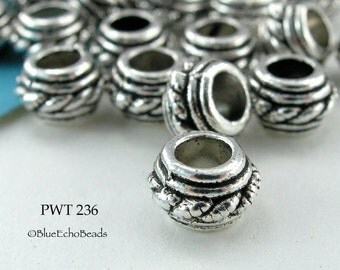 7mm Large Hole Beads Pewter Ring Twist, Antique Silver (PWT 236) blueecho 12 pcs