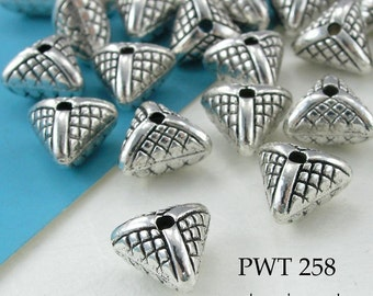 9mm Pewter Beads Puffy Pyramid Antique Silver 9mm (PWT 258) 10 pcs BlueEchoBeads