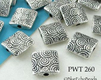10mm Square Pewter Beads Waves Silver Tone (PWT 260) 10 pcs BlueEchoBeads