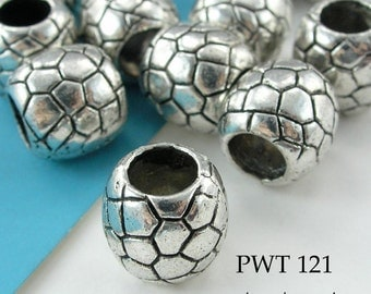 10mm Large Hole Pewter Beads, Crackle Pattern, Antique Silver (PWT 121) 5 pcs BlueEchoBeads