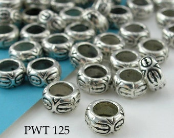 Large Hole Beads Pewter Ring with Circles 7mm Antique Silver (PWT 125) blueecho 16 pcs