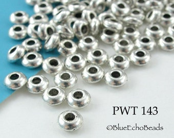5mm Mini Pewter Smooth Spacer Beads Antique Silver (PWT 143) 50 pcs BlueEchoBeads