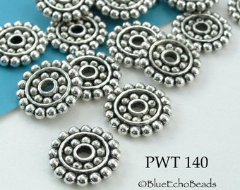 14mm Pewter Beads, Large Disk with Dots, Antique Silver (PWT 140) 12 pcs BlueEchoBeads