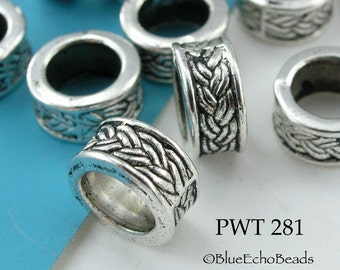 9mm Large Hole Beads Pewter Ring Celtic Braid Antique Silver (PWT 281) 10 pcs BlueEchoBeads