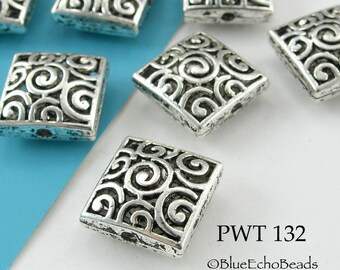 15mm Square Pewter Beads Hollow with Curls (PWT 132) 3 pcs BlueEchoBeads