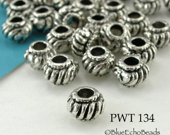 6mm Pewter Spacer Bead Antique Silver (PWT 134) 20 pcs BlueEchoBeads