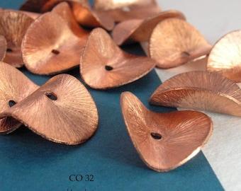16mm Potato Chip Beads Copper Wavy Disk (CO 32) 8 pcs BlueEchoBeads