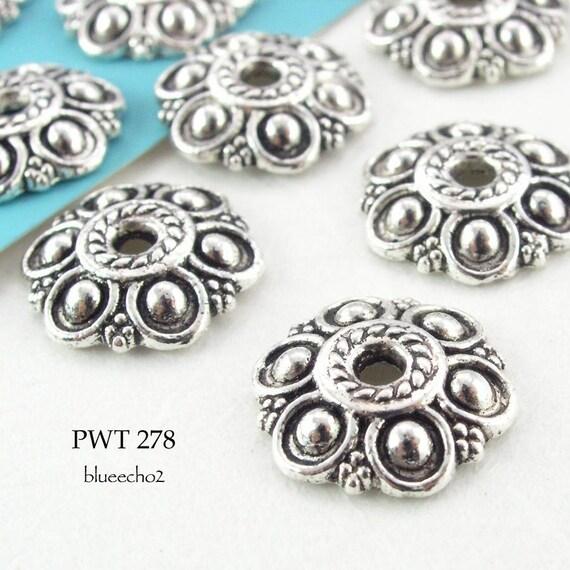 Pewter Bead Caps Six Petal Flower Antique Silver (PWT 278) blueecho 12 pcs